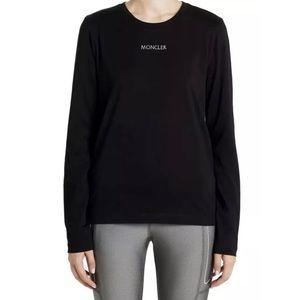 MONCLER Black Embroidered Logo Long Sleeve Shirt